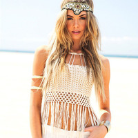 White Fringed Design Cut Out Knit Swimsuit