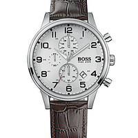 BOSS Hugo Boss Embossed Leather Strap Chronograph Watch - Brown