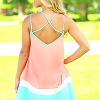FLYMALL Candy Colorblock Cami Dress Trapeze Dress (XL)