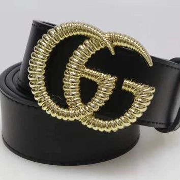 """Gucci"" Unisex Fashion Classic Multicolor  Metal Double G Letter Plate Buckle Belt"