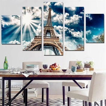 Unframed Canvas Painting Eiffel Tower Wall Sticker Sunshine Pictures A4 Print Poster Modern for Decoration Modular Picture 5Pcs