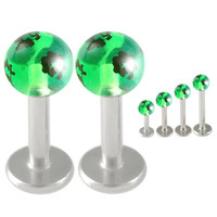 Handpainted Glitter Ball Labret [Gauge: 16G - 1.2mmBall Size: 3mm] 316L Surgical Steel (Green) & Acrylic (Various Lengths) // Set of 2 (LHPG11)