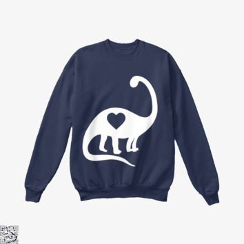 Dinosaur With Heart, Valentine's Day Crew Neck Sweatshirt