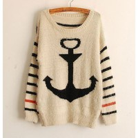 SODIAL(R) Knitted Stripe Navy Anchor Casual Loose Outerwear Pullover Sweater Tops for Womens
