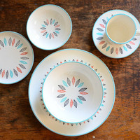 Vintage Marcrest Nordic Mint Dishware | Red Line Vintage