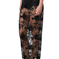 Serena Sheer Lace Maxi Skirt - Black