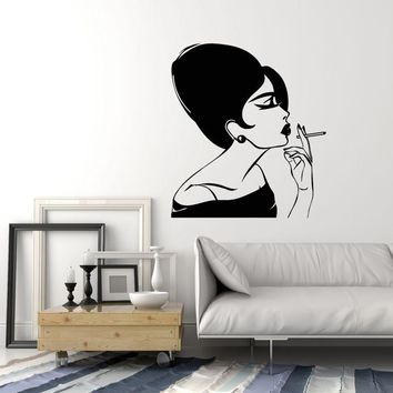 Vinyl Wall Decal Lady With Cigarette Smoking Glamorous Woman Stickers (2314ig)