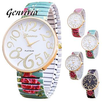 Genvivia New Glass Golden Roman Numerals Luxury Women Femal Bracelet Quartz Wrist Watch Stainless Steel