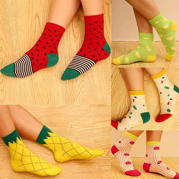 Watermelon, Pineapple, Lemon - 5 Pairs Socks Funny Crazy Cool Novelty Cute Fun Funky Colorful