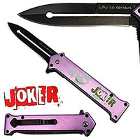 Joker Spring Assisted Opening Pocket Knife Why So Serious? with Belt Clip Tactical Batman Dark Knight 4 Variations