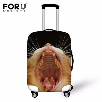 FORUDESIGNS Fashion Travel Luggage Protective Cover 3D Cat lion Face Animal Elastic Waterproof Suitcase Cover For18-30 Inch Case