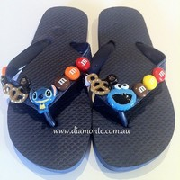 Kids Flip Flops Thong Sandal Embellished With MIX Of Kawaii Cookie Monster 212
