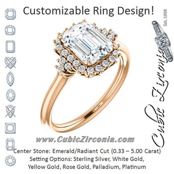 Cubic Zirconia Engagement Ring- The Winter (Customizable Radiant Cut Cathedral-Halo Design with Tri-Cluster Round Accents)