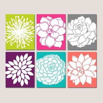 FLOWER Wall Art, Colorful Girl Bedroom Decor, CANVAS or Prints, Bathroom Decor, Botanical Succulent Flowers, Home Decor Pictures, Set of 6