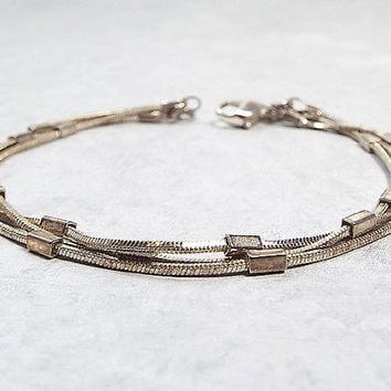 Monet Multi Strand Vintage Bracelet Silver Tone Rope Chain Link with Rectangles Boho Minimalist Womens Fashion Jewelry