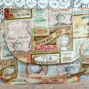 Large Teapot Shaped Purse Handbag in Tea Labels Pattern - Sewn Just For You! Arrives in 3-4 weeks