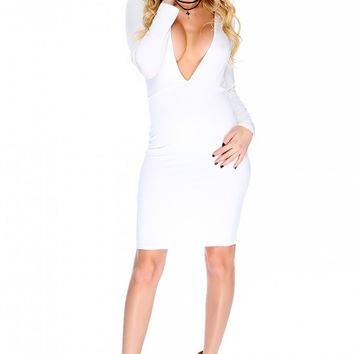 Sexy Cream Plunging V-cut Long Sleeve Open Back Body Con Party Dress