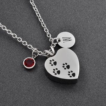 Dog Memorial Paw Printed Cremation Urn Pendant My Pet My Best Friend Funeral Cremation Ashes Keepsake Jewelry Customized Charms