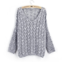 Fashion Women's Hollow V Neck Loose Knitted Sweater Best Gift