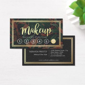 Chic Gold Script Floral Makeup Salon Loyalty Punch Business Card
