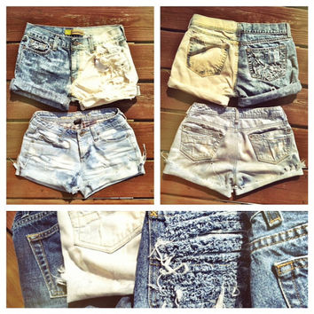 Vintage Distressed Denim Shorts High or Low by SHOPOrganizedChaos
