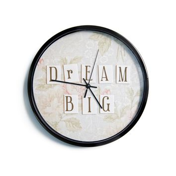 "Debbra Obertanec ""Dream Big"" Quote Floral Modern Wall Clock"