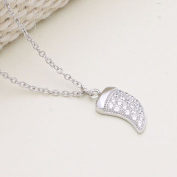 925 sterling silver pave cubic zirconia horn necklace