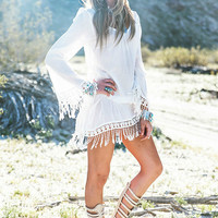 White Lace Fringed Sleeve Mini Dress