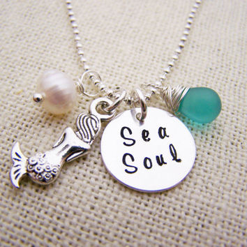 Sea Soul Necklace - Beach Necklace - Mermaid Necklace - Sea Glass and Freshwater Pearl nautical Necklace - Hand Stamped - Gift for Her