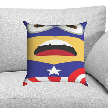 Minions Captain America Custom Pillow Case for One Side and Two Side