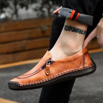 2019 New Men Casual Shoes Loafers Autumn Winter Mens Moccasins Shoes Genuine Leather Men's Flats Shoes Big Size 38-48