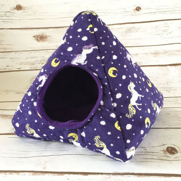 Custom Hedgehog Tent Guinea Pig Plush Fleece Hidey Hut House Unicorn or Pick from over 200+ fabrics
