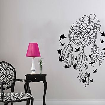 Wall Decal Dreamcatcher Dream Catcher Feathers Night Symbol Indian Vinyl Sticker Decals Home Decor Bedroom Art Design Interior NS791