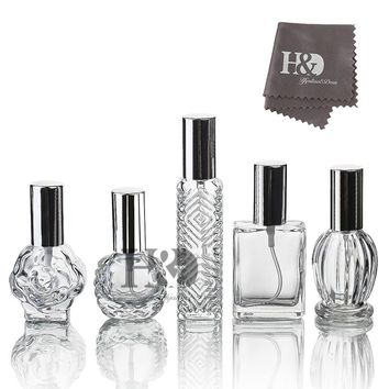 H&D Clear Portable Travel Refillable Perfume Bottle Perfume Atomizer,Empty Refillable Glass Bottle, Silver Sprayer  (Set of 5)