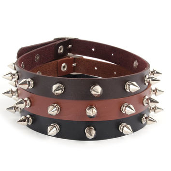 New Lady Punk Gothic Leather Choker Heart Chain Spike Rivet Buckle Collar Necklace