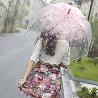 [Pink Cherry]Moonse Romantic Pink Cherry Clear Rain Wind Umbrella,Half-Automatic