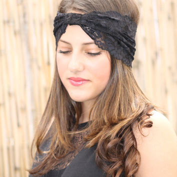Black Headband with black Lace Wrapped center bf026030967