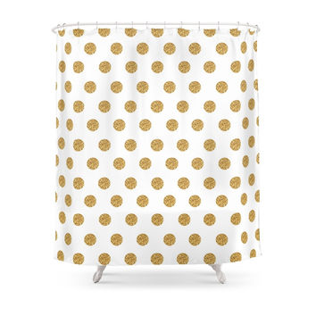 Society6 Gold Glitter Polka Dots Shower Curtains