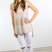 Golden Hour Taupe Sleeveless Sweater Top