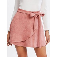 Pink Plain Above Knee Shift Skirt