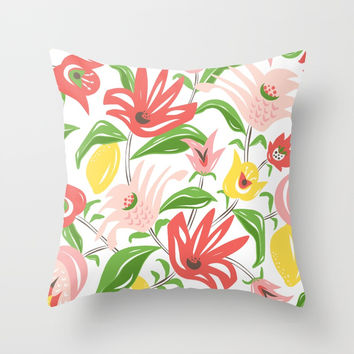 Island Garden Floral Throw Pillow by heatherduttonhangtightstudio