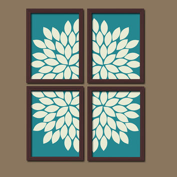 Bold Turquoise Ivory Flourish Design Artwork Set of 4 Prints Dahlia Bloom Flowers Bedroom WALL Decor Floral ART Pictures