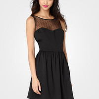 FredFlare.com - Sheer Top Dot Dress - Shop All Dresses Now