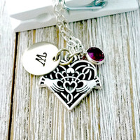 Claddagh Necklace, Personalized, Claddagh Heart, Personalized Claddagh, Claddagh, Mother's Day, Stamped Jewelry, Gift for Her
