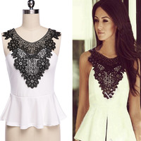 Front Embroidered White Peplum Top