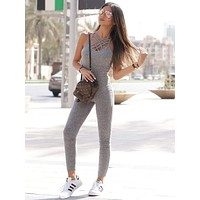 SHEINGray Marled Ribbed Knit Cage Neck Skinny Jumpsuit