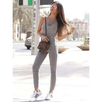 SHEIN Gray Marled Ribbed Knit Cage Neck Skinny Jumpsuit