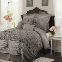 Lucia 4-pc Gray Comforter Set King - Gifts for You and Me