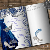 Quinceanera Masquerade Invitation,Sweet 15 Invitations,Sweet sixteen invitation,Quinceanera Invitations, Royal Blue Dress, Bling Invitations - Edit Listing - Etsy