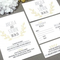 Laurel Leaf | Rustic Wedding Invitation Suite by RunkPock Designs | Modern Monogram Handwritten Leaves Invitation shown in pale yellow / black / gray